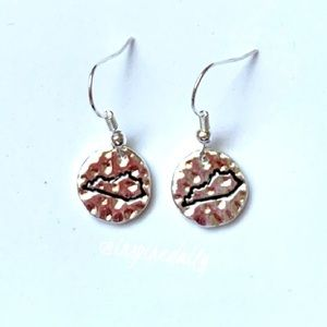 Silver Tone Hammered State of Kentucky Earrings